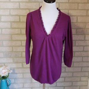 Ann Taylor Purple Fringe Collar Sweater Size Large